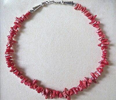 """Sterling Silver and Red Coral Necklace 29.3 Grams 16"""""""