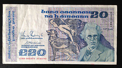 Ireland, Central Bank of Ireland, 20 Pounds, 21-01-92, P73c