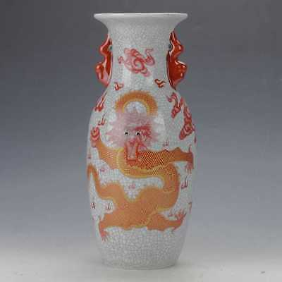 Exquisite Chinese Porcelain Hand-Carved Dragon Vase Qianlong Mark  v