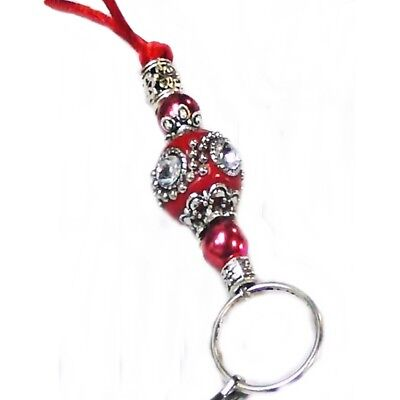 Cord Chain Necklace Lanyard, key keeper, id badge holder Red Indonesian bead