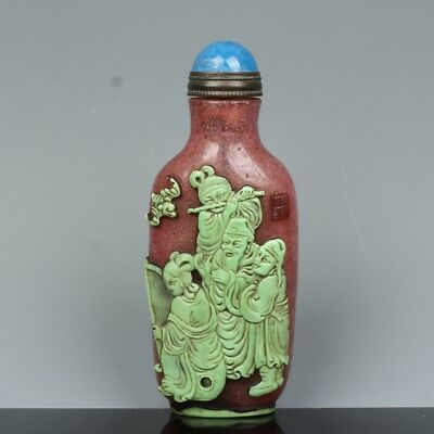 China Exquisite Hand-carved the ancients carving Glass snuff bottle