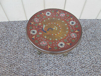 "51917  Vintage Brass Peacock ""censor"" Footstool"