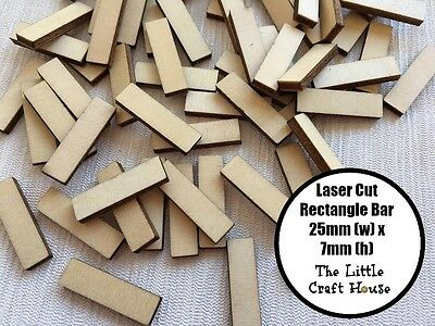 12 x 25mm Rectangle Bar Wooden Laser Cut Shape Ply Blank Wood Rectangles Small