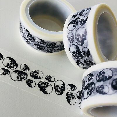 Washi Tape Wide Black Skulls Halloween 20Mm X 5Mtr Roll Plan Craft Scrap Wrap