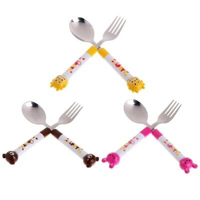 2 X Cartoon Baby Safety Stainless Steel Spoon Fork Set Kids Feeding Tableware