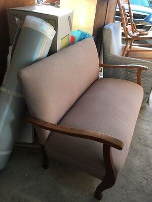 Antique Fawn Linen Upolstered 2 Seater Timber Sofa