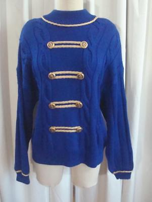Vintage ST. JOHN COLLECTION Royal Blue MILITARY Gold Braid CABLE KNIT SWEATER L