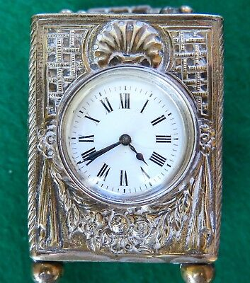 Antique British  Sterling Silver Travel Clock late 19th century