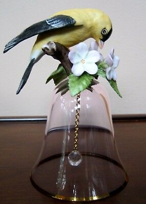 Franklin Mint Dinner / Table Bell, crystal, 1985, with goldfinch bird, gold rim