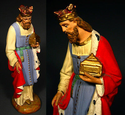 "Old French Church Painted Plaster Santon Nativity Figurine ""Wise Man"""