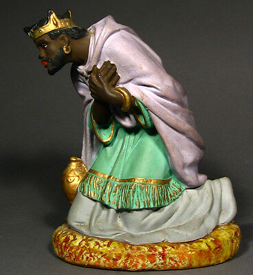 "Vintage French Church Painted Plaster Santon Nativity Figurine ""Wise Man"""