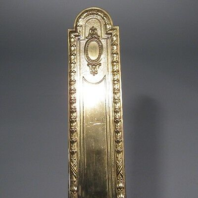 "Vintage French Gilded Metal Door Back Plate, Louis XVI Style, 11 ¾"" x 2"""