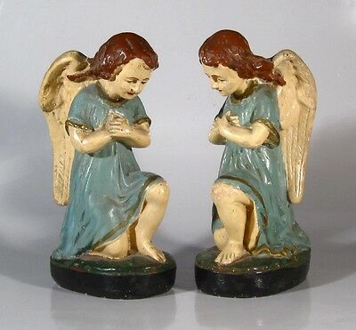 Pair of Antique French Church Angel Statues, Painted Plaster