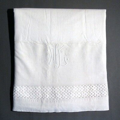 VintageFrench Sheet, Heavy, Monogrammed, Crochet Lace, 112 x 86 Inches