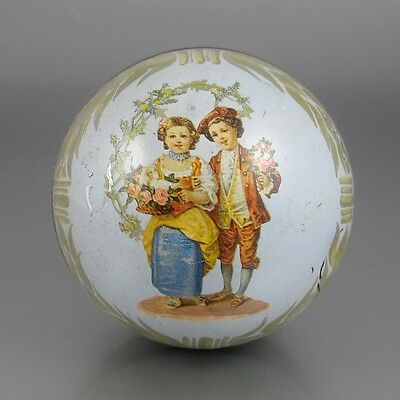 Old Vintage French Box, Globe Shaped Painted Metal, Children