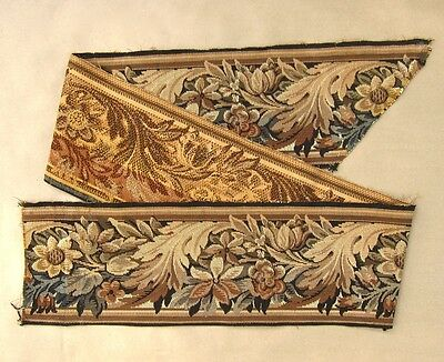 Vintage French Woven Tapestry Border Panel, Acanthus Leaf Pattern, 81 Inches