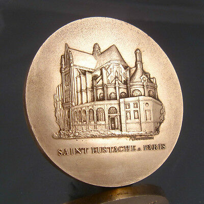 Large Vintage French Bronze Medal Bas-Relief, St-Eustache Church Paris, Signed