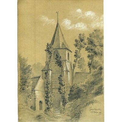 Antique French Pencil Drawing with White Highlights, Church in Normandy, 1889