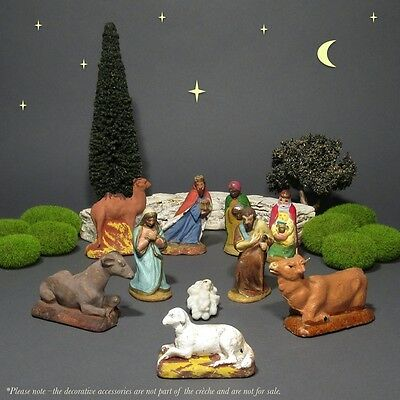 Old French Santons Figurines Christmas Crèche, Nativity Set, 10 pcs