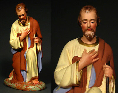 "Old French Painted Plaster Santon Nativity Figurine ""Joseph"""