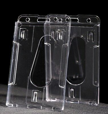3/5/10/20 PCS  Quality Clear Vertical Hard Plastic Badge Double ID Card Holders