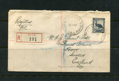 Papua Png Guinea 1949 Registered Stamp Cover Buin 5.5D Emu Air Mail To Sussex Uk