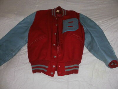 Genuine USA VINTAGE 1950's - 1960's BUTWIN Letterman Varsity Jacket Red/grey M18