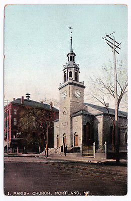 RARE Antique 1907-1915 First 1st Parish Church Portland ME Divided Back Leighton