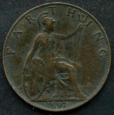 1897 Great Britain 1 Farthing Coin