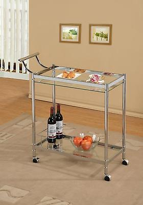 Chrome Metal Bar Tea Wine Holder Serving Cart With Tempered Glass