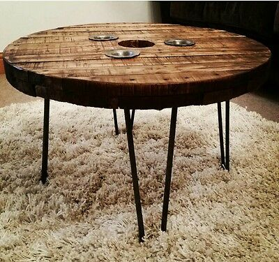 Industrial Cable Drum Reel Round Wooden Coffee Table Vintage Retro hairpin legs
