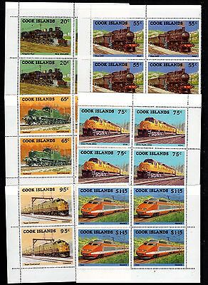 COOK ISLANDS 1985 TRAINS on stamps. SG1022-9 Corner Blocks of 4 MNH
