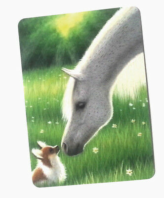 Swap / Playing Card ~ Hello Little Fella Horse & Dog ~ Modern Wide ~ Linen
