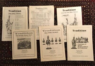 Traditions toy soldier figure catalogs and price list lot of six pieces.