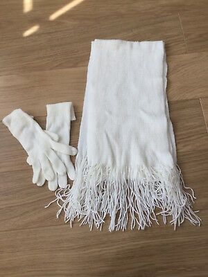 Cream Scarf And Glove Set