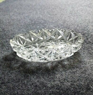 antique cut glass small butter dish nuts etc
