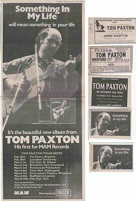 TOM PAXTON : CUTTINGS COLLECTION -adverts-
