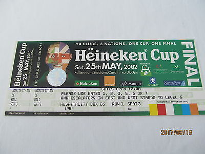 Heineken Cup Final 2002 Match Ticket.