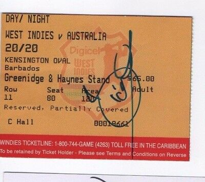 West Indies v Australia 20/20 @Kensington Oval. Ticket signed by Dwayne Bravo