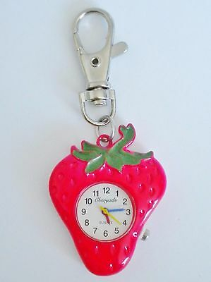Ladies/girl's Red Strawberry Fruit Keyring/key Chain Pendant/pocket/fob Watch