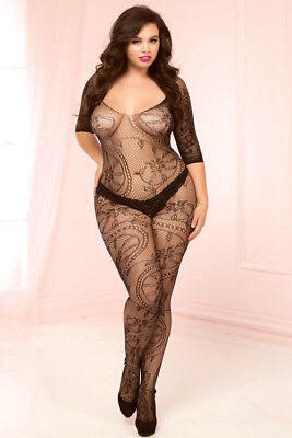 Swirl and Floral Lace Bodystocking (Queen)