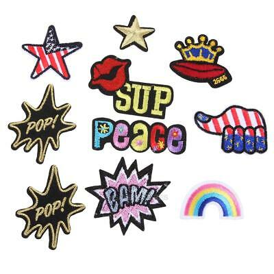 10pcs Mixed Style Applique Embroidery Patch Sticker Iron on Sew Cloth DIY hv2n