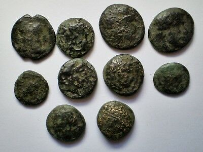 Lot - 10Greek Bronze Coins - Authentic - Cleaned Condition