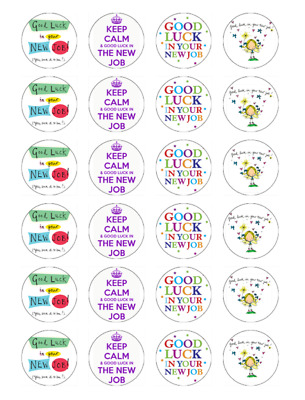 24 Good Luck In Your New Job Cupcake Fairy Cake Toppers Edible Rice Wafer Card