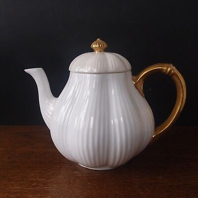Antique Coalport Teapot Dainty White with Gilded Handle