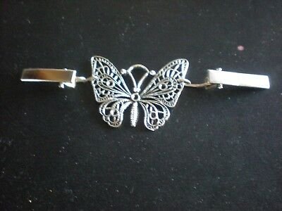 Cardigan, Sweater Blouse, Shawl Clips/Clasps Antique Silver plate Butterfly