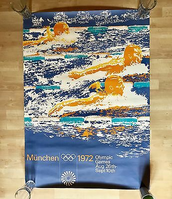 1972 Munich Olympics - Swimming Poster - A0 (33x46) - Otl Aicher Design