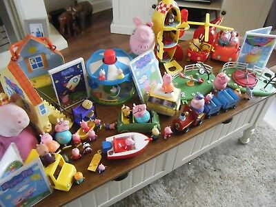 Huge Peppa Pig Toy Bundle Playsets Vehicles 25 Figures Dvds Soft Toys And More