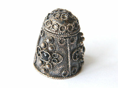 Antique Sterling Silver Sewing Thimble w/ Chain Hoop & Onyx Gems, Thimble Charm