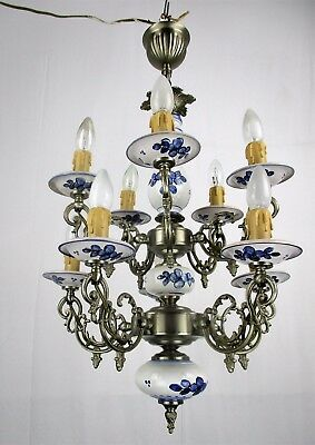 Vintage Delft Blue White Porcelain Spelter chandelier  Two Tier Double 10 Lights